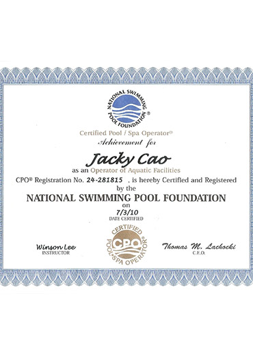 Certified Pool/SPA Operator by National Swimming Pool Foundation
